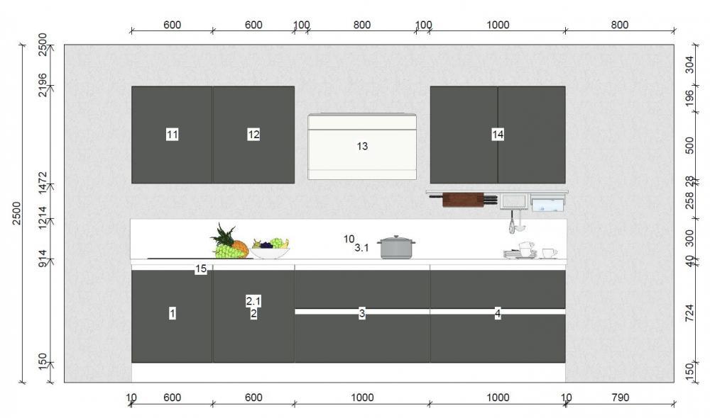 Zweizeilige Küche von Online - Küchenfachgeschäft - Foto  2